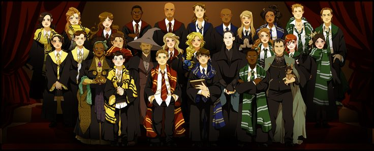 Back row - Gwen, Rachel, Ava, Gordon, Victor, Ash, Uriel, Becky, Kali, Balthazar, Gabriel Middle row - Tessa, Andy, Ronald, Jo, Jess, Bela, Anna, Ruby Front - Missouri, Castiel, Bobby, Dean, Sam, Death, Raphael, Crowley, Growley  Art by lettiebobettie