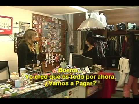 Spanish educational video of 2 girls buying clothing at an Argentina clothing store. Learn Spanish by watching the subtitles. See our other free Spanish lesson videos http://www.121spanish.com