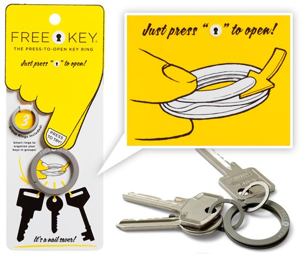 Great idea!: Free Keys, Clever Design, Good Ideas, Keys Rings, Broken Nails, Easy Keychains, Cool Ideas, Products Design, Stainless Steel