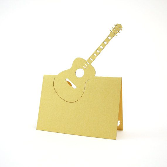 Guitar Place Cards set of 10  Escort by JonNiPaperGoods on Etsy