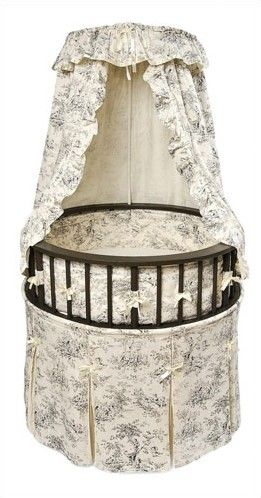 elegance bassinet with toile bedding this is the jumping off point for the nursery