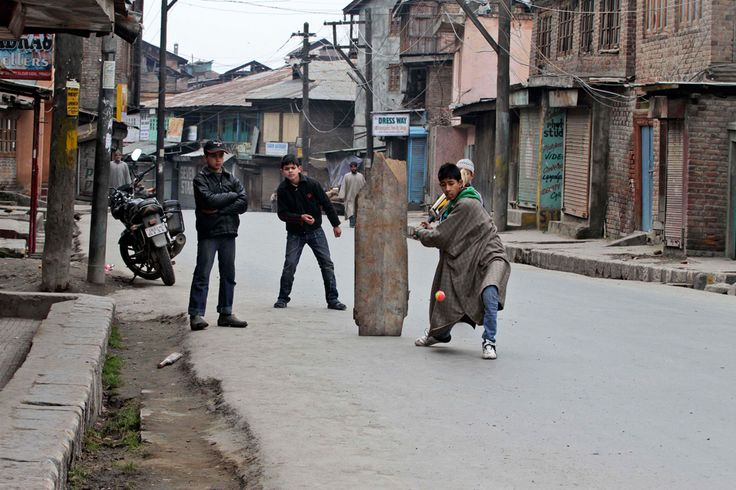 Cricket players in Kashmir