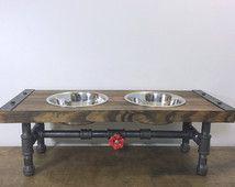 Industrial Dog Feeder, Pet Feeder, Industrial Style, Pet Supplies, Pet Feeding, Elevated Dog Bowl, Raised Dog Bowl, Pipe Furniture, Dog