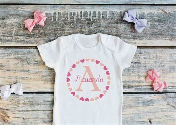 1d9e14034 Valentine's Onesie, Valentine, Valentines Baby, Hearts Baby, Monogrammed  Onesie, Baby Girl, Monogram