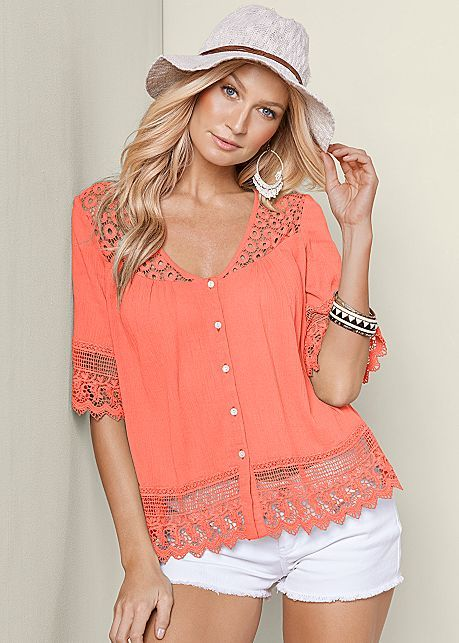 Coral Lace Inset Button Up Top from VENUS
