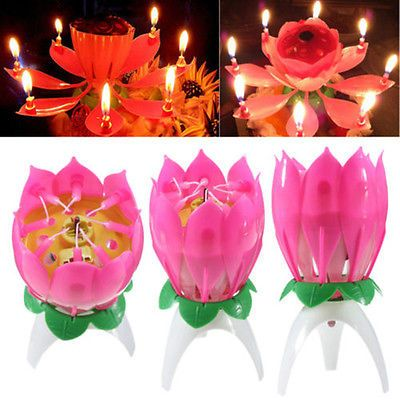 Flower Amazing Lotus Lights Music Musical Birthday Candle Cake Topper Gift Decor