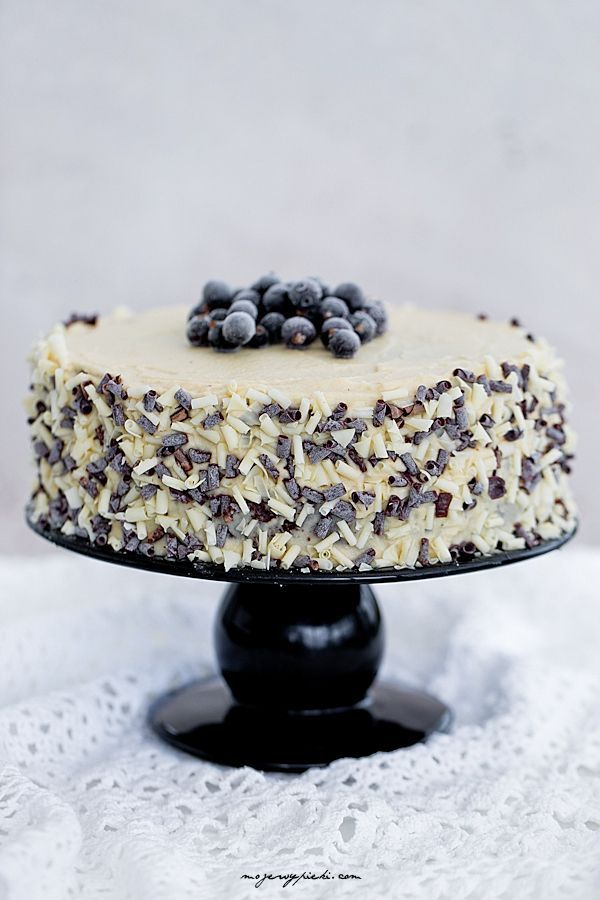 Chocolate cake with halva cream cheese frosting and blackcurrant jam