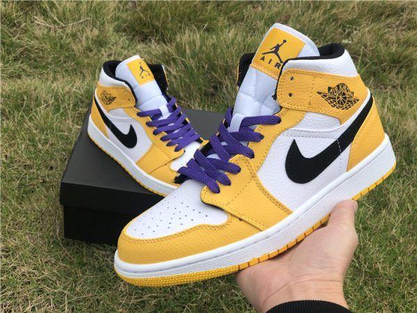 6a34a77c255 2019 Air Jordan 1 Mid SE Lakers White Purple Yellow UK 852542-700-1 ...