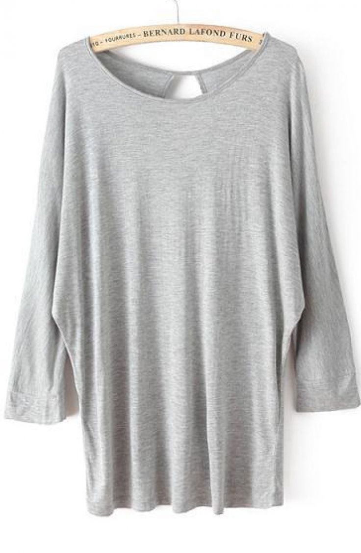 Grey Batwing Long Sleeve Hollow Loose T-Shirt - abaday.com
