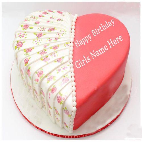 Write Your Name Heart Shaped Birthday Cake For Girls Birthdaycake