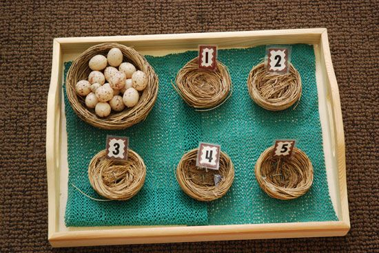 Many ideas here for egg-inspired learning, including this sweet birds-nest counting game.