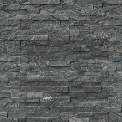 Superb MS International Glacial Black Ledger Panel 6 In. X 24 In. Natural Marble  Wall