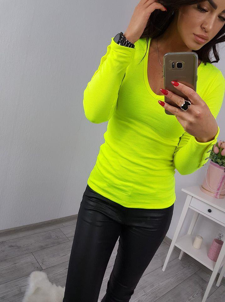 646946f56182d Tričko s gombičkami žltý neon | dámske tričká | Dámske tričká ...