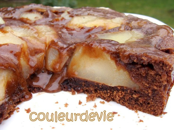 La tarte-cake-mousse chocolat poire de Christophe Felder | Couleurdevie