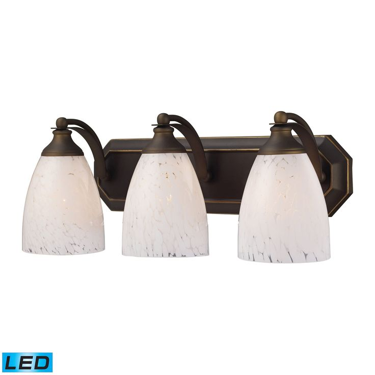 Bath And Spa 3 Light LED Vanity In Aged Bronze And Snow White Glass 570-3B-SW-LED