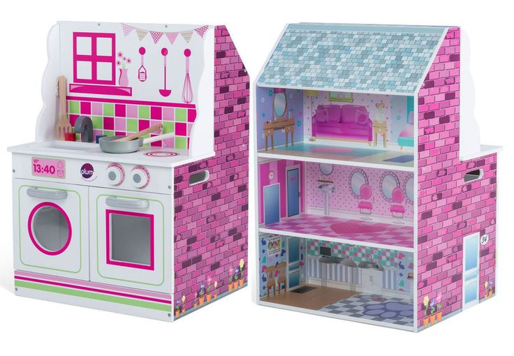 Over 50% off 2-in-1 Wooden Dolls House and Kitchen!