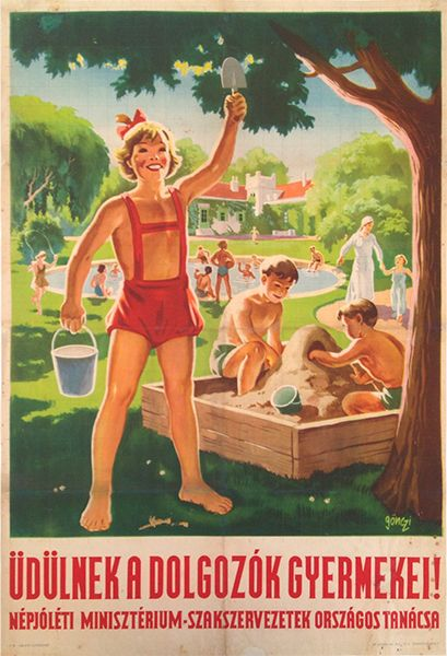 Tibor Gonczi Gebhardt, The Children of the Workers are on Vacation!, 1950