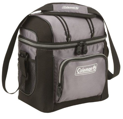 9 Can Cooler, Gray - The Coleman 9-Can Soft Cooler goes with you to work, to sporting events and tailgates, picnics, and beyond. It holds 9 cans inside, and features plenty of extra storage space in its front zippered pocket, back mesh pocket, and mesh pocket in the lid. There are even bungees on the lid for stowing ...