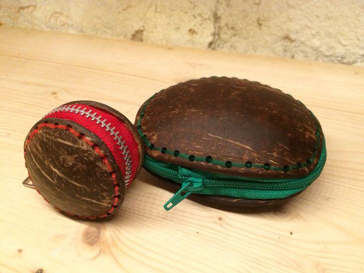 Portamonete/portafoglio in legno di guscio di cocco - #wood#diy#coconut
