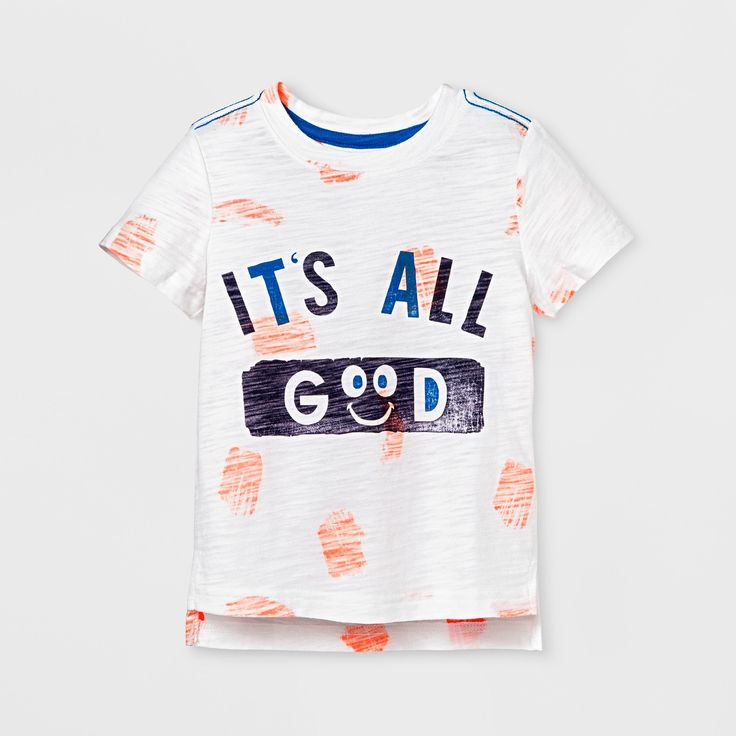 """For your little one who always has a smile for you, the It's All Good Short-Sleeve T-Shirt from Cat & Jack™ is a perfect pick he'll love to rock. This positive message T-shirt is decorated with orange brushstrokes and the words """"It's All Good"""" printed across the chest. Pair with joggers or jeans for an easy day with your happy little guy."""