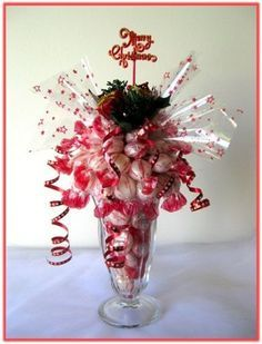 """""""ENGLISH MINTS SUNDAE"""" Sundae Candy Arrangement : This Sundae glass is filled and topped with """"English Mints"""" mint flavor boiled sweets/aprox 80pcs, decorated with Xmas enhancements."""