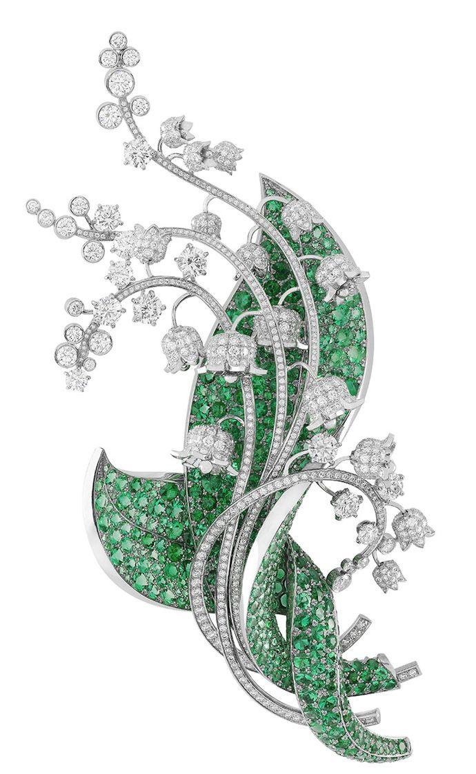 """Van Cleef & Arpels - Palais de la Chance Collection - """"Muguet"""" clip, platinum, diamonds and emeralds"""