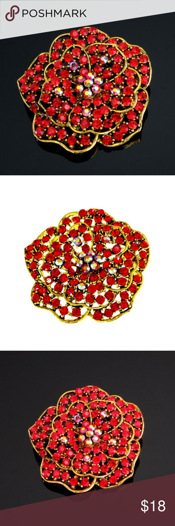 "Rose Brooch Red Rhinestone AB Floral Flower Floral Rose Brooch Red Aurora Borealis Rhinestone   Incredible bright red and red aurora borealis crystal rhinestones make up this pretty rose flower brooch set in gold tone. The brooch appears to be layered with a lettuce leaf design. Joint catch pin closure.   Condition: Previously owned, excellent with no noted flaws.  Measures Approximately: 2"" Diameter Jewelry Brooches"