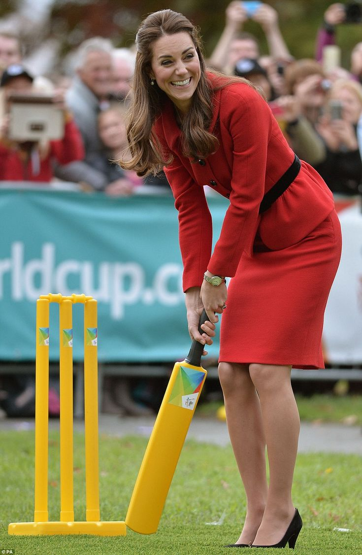 Watch your head! However, Kate narrowly avoided getting hit in the head by ball during the match