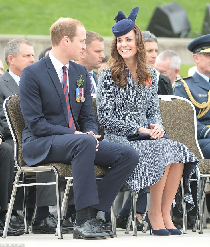 Kate and William were escorted to their seat to watch the march by veterans of World War II. April 25, 2014