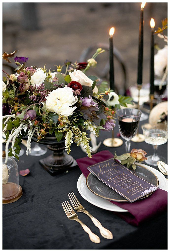 Moody Jewel Toned Halloween Wedding Inspiration Shoot Wedding