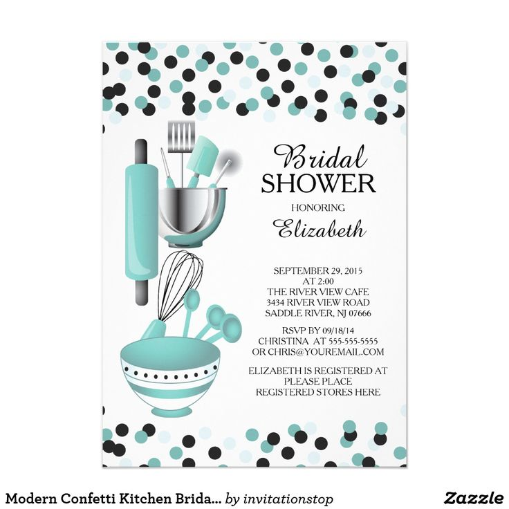 Modern Confetti Teal Kitchen Bridal Shower Invitations Modern stock the kitchen bridal shower invitation featuring a rolling pin, mixing bowl, spatula, pizza cutter, whisk, vegetable peeler and measuring spoons set on a contemporary white background with teal blue & black polka dot confetti. Visit our shop to view this invitation in a variety of popular wedding shower invitations.