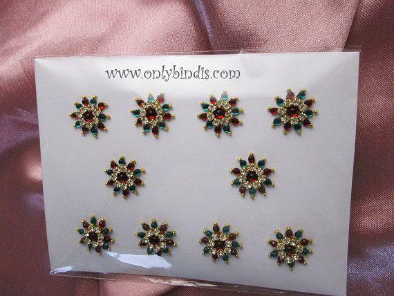 Bindi Jewelry Crystals in Red and Green. by BindiStoreUSACANADA, $14.99  Buy Bindis in Spain. Bindi store in Spain. Buy Temporary Heena Stickers, body Tattoos in Spain.