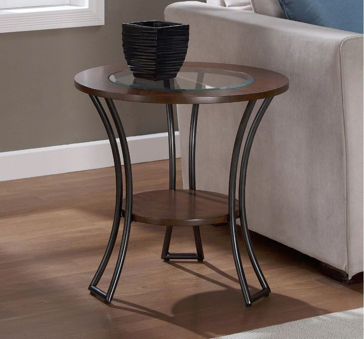 Small End Table With Storage Round Glass Top Snack Drink Stand Stand Wood  Metal
