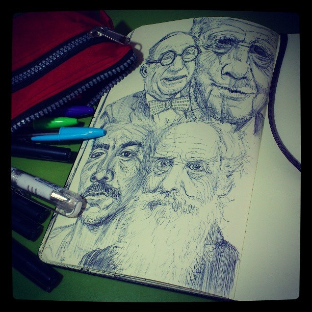 Randomly chosen faces - Bic Cristal ballpoint pen in Moleskine.