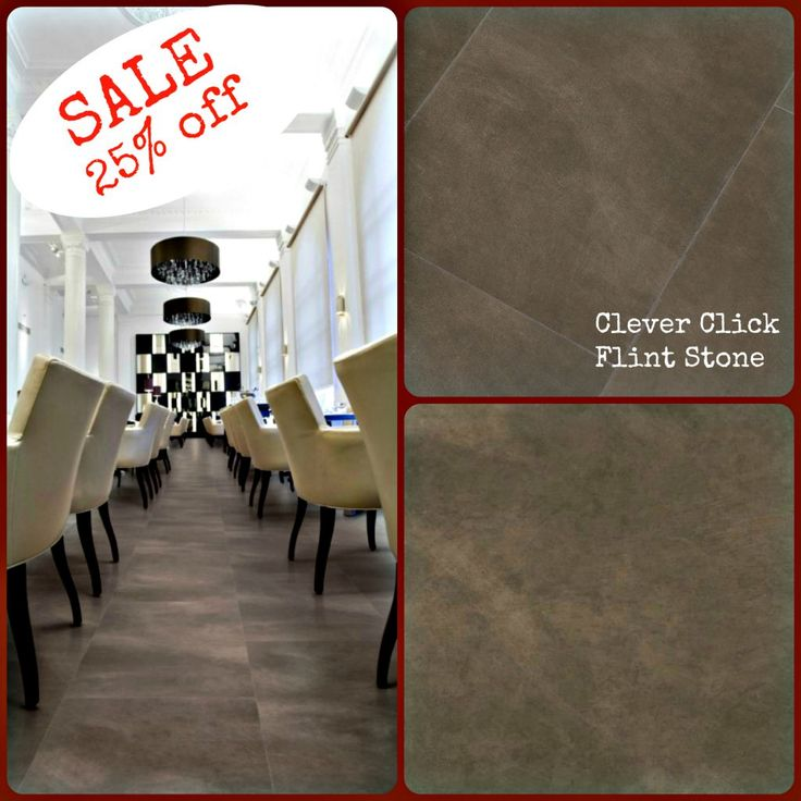 Clever Click Flint Stone SALE  25%off ! Everyone goes a little crazy at times, and were no different… I'm delighted to announce that at the minute we have a fantastic sale of our Clever Click – FLINT STONE flooring, with savings of 25%. Wow!! Give us a buzz or pop into the showroom to get your recession concession while you still can! * offer valid while stock last * 25% off on supply only!