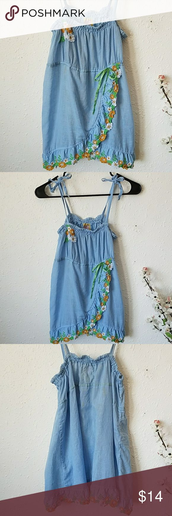 Free People Blue Linen Embroidered Smock Top Sz L Linen/Cotton Hippie Top by Free People Tie top  Overlay front  Embroidery on hem  Great condition  Smoke free home  Fast Shipping! Free People Tops