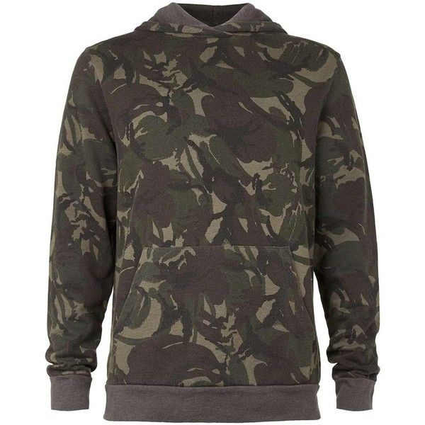 TOPMAN Khaki Camo Wash Classic Fit Hoodie ($33) ❤ liked on Polyvore featuring men's fashion, men's clothing, men's hoodies, green, mens cotton hoodies, mens hoodies, mens camouflage hoodies, mens sweatshirts and hoodies and mens camo hoodies