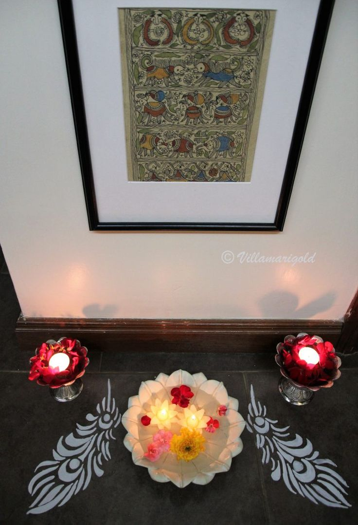 Hope you all had a wonderful Deepawali ! Wishing you a very Happy New Year!I thought I should round up all my Diwali Vignettes in one place so created this post for you all! This year, my aim was to use unconventional materials and containers around the house. I did not buy new things but just used