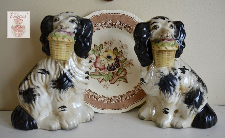 Pair Medium Black Amp White Staffordshire Spaniel Dog