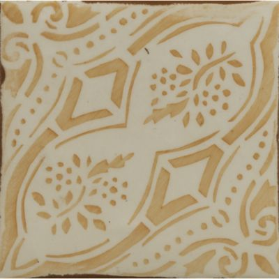 X Gitanos 2 Decorative Tile In Off White And Coral    NOTE Comes In Lots Of  Different Colors