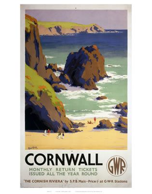 Cornwall Rocky Beach on VintageRailPosters.co.uk Prints