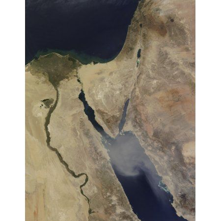 A cloud of tan dust from Saudi Arabia blows over the Red Sea Canvas Art - Stocktrek Images (25 x 32)