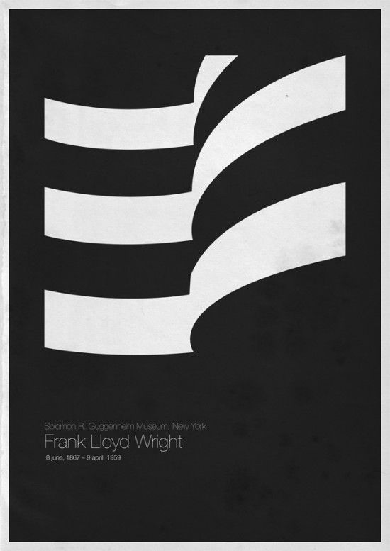 Pared-down representation of Frank Lloyd Wright's architectural work with the Guggenheim—I love how beautifully evocative this is of the actual building, as minimalist and abstract as the illustration is. Beautiful. #blackandwhite #curves #architecture #typography #light #minimalism
