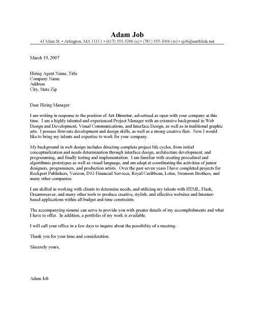 Web Art Director Cover Letter