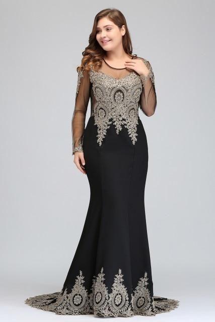 90a8b8751b0 Mermaid Long Evening Dress with Appliques – Curvy Fashion Queen