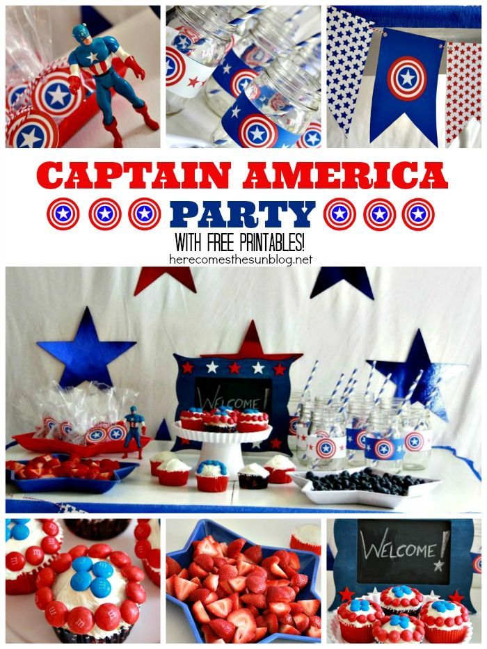 captain america party party themes for kids printable banner and party ideas. Black Bedroom Furniture Sets. Home Design Ideas