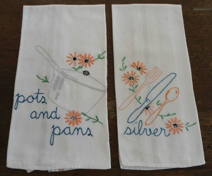 162 best images about Vintage Embroidered Dish Towels on