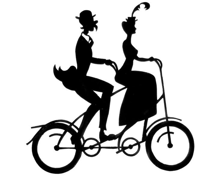 Victorian Tandem Bicycle Pair Handmade Paper Cut