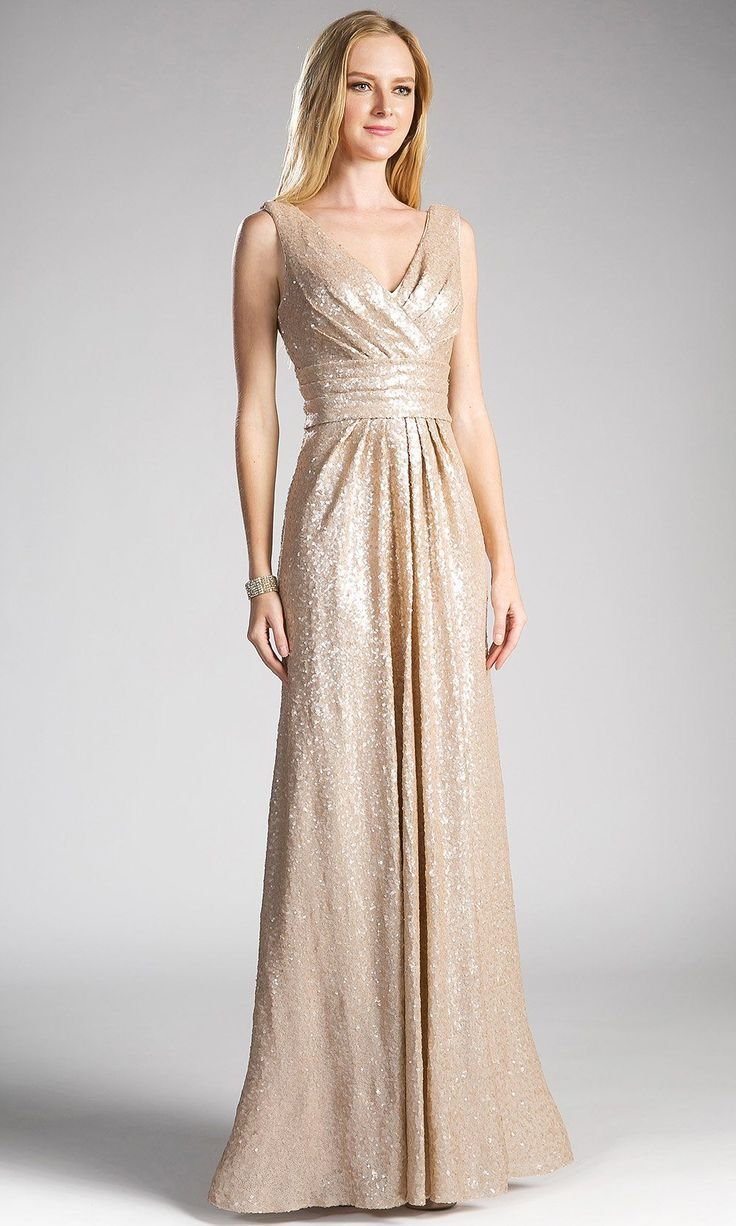 0ab12b3a3ba Long champagne gold sequin with wide straps and v neck with flowy evening  gown. Perfect for formal wedding