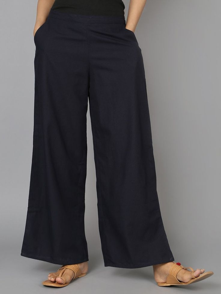 Navy Cotton Palazzo Pants - The Wooden Closet